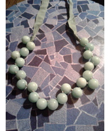 J Crew Necklace , Mint Green Glass Ball , Ribbon Tie - $10.00
