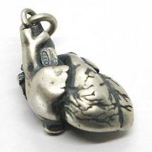 Silber Anhänger 925, Brüniert und Satiniert, Herz Realistisch Dattagliato image 2
