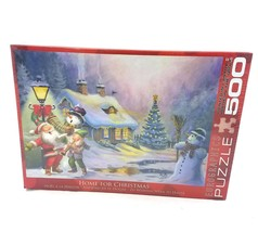 EuroGraphics Home For Christmas Jigsaw Puzzle 500 Pieces NEW Santa Snowman Tree - $29.60