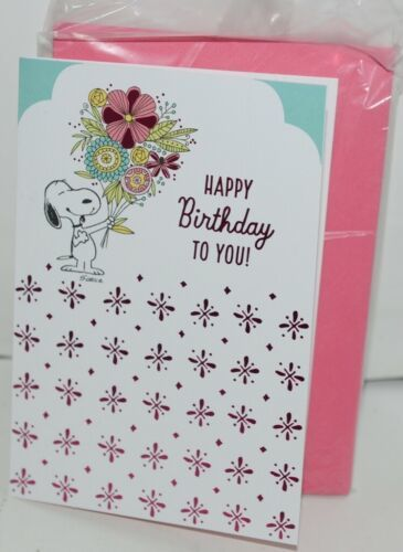 Hallmark FBD 442 4 Hallmark Peanuts Snoopy Happy Birthday Card Pink Envelope Pk4