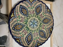 Hand-painted Ceramic Hanging Wall Plate Multicolour 12 inc Made In Spain - $27.96