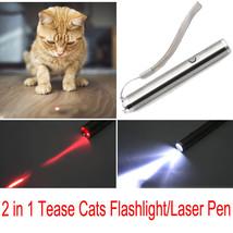 2 in 1 Tease Cat Teaser LED Lamp Pocket Flashlight Torch Laser Pen Kitte... - $4.99