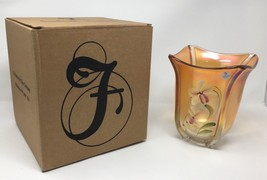 Fenton Art Glass Marigold Hand Painted Vase - New With Box! #8155 NF - $139.50