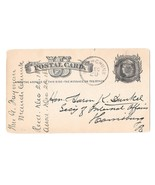 UX5 DPO Mauch Chunk PA 1880 Fancy Bullseye Target Cancel Postal Card Fre... - $13.10 CAD