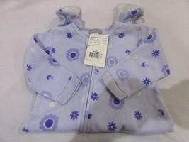 Carter's Baby Girls Lavender Fleece Floral Sleeper Footed Pajamas 12M - $7.99