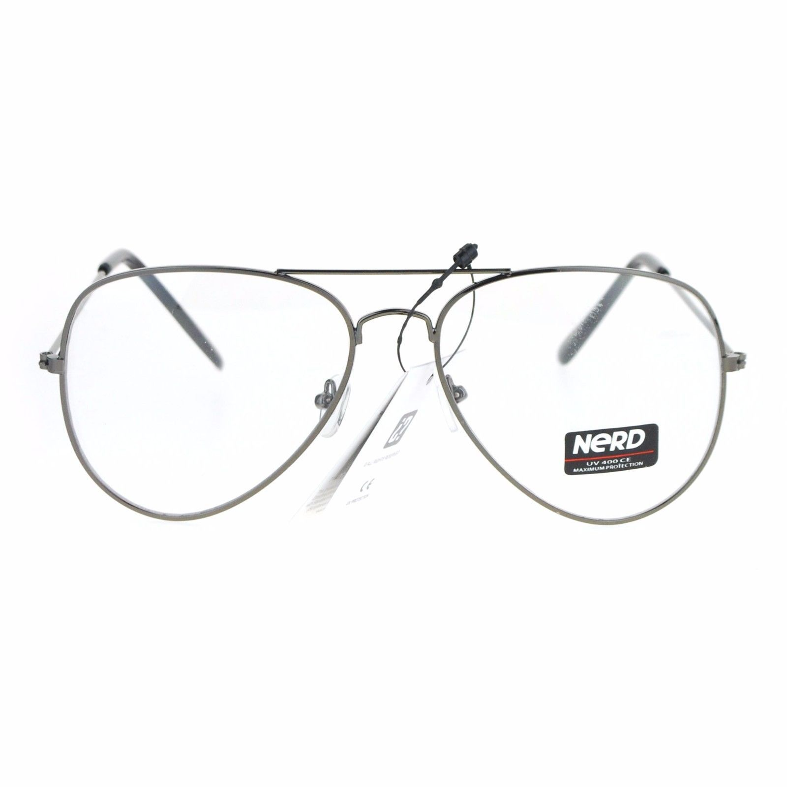 Classic Metal Aviator Clear Lens Glasses Unisex Fashion Eyeglasses UV 400