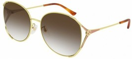 Gucci Women's Sunglasses GG0650SK 004 Gold /Brown Lens Round 59mm - $260.93
