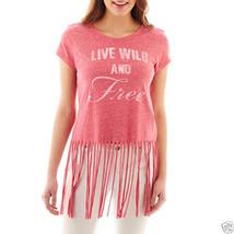 Self Esteem Short-Sleeve Fringe Graphic Tee Size S New Msrp $28.00 Fuchs... - $7.99