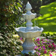 2-Tier Outdoor Fountain with Pineapple Top in W... - $179.75
