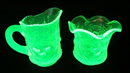 Vtg L G Wright Uranium Vaseline Glass Creamer and sugar Wreathed Cherry ... - $68.31