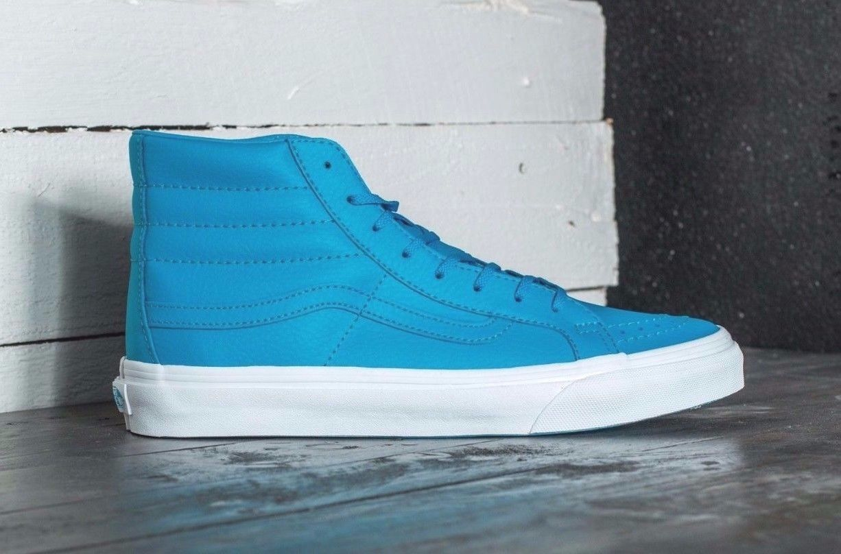 VANS Sk8 Hi Slim (Neon Leather) Neon Blue Skate Shoes WOMEN'S 7