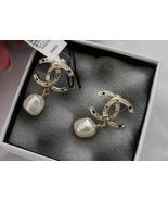 NIB 100% AUTH CHANEL 13K  FAUX PEARL AND STRASS CC EARRINGS - $430.88