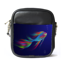 Sling Bag Leather Shoulder Bag The Siamese Fighting Fish Beautiful Rainb... - $14.00