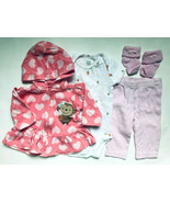 Baby Girl's Size 3M 0-3 Months 3 Pc Carter's Pink Monkey Jacket, Top & P... - $15.00