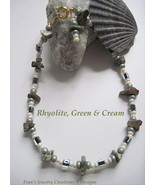 "RHYOLITE JASPER AND CREAM GOLDPLATED ANKLE BRACELET - SIZE 9 3/4"" - $7.50"