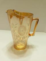 Vintage Carnival Glass Pitcher Jeanette Depression Marigold Cosmos 9 3/4... - $26.55