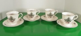 Nikko Happy Holidays Christmas Tree Footed Cup And Saucer Set (S) Lot Of 4 - $21.73