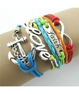 Braided Leather Bracelet  Infinity Anchor Love Friendship Charm Wrap - $4.44
