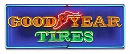 Good Year Tires Neon Stylized Metal Sign by Larry Grossman - $39.95