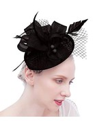 Felizhouse Fascinator Hats Women Ladies Feather Cocktail Party Hats Brid... - $17.06