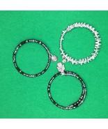 SET of 3 Hand Crafted Silver Harmony Memory Wire Wrap Bracelet Boho Bead... - £15.82 GBP