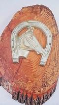 1950s Lucky Horseshoe Horse Head Wood Log Slice Western Cowboy Cabin Dec... - $53.41