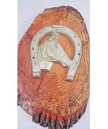 1950s Lucky Horseshoe Horse Head Wood Log Slice Western Cowboy Cabin Dec... - €47,96 EUR
