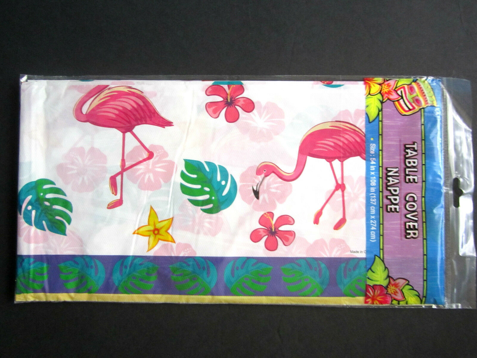 """Pink Flamingo Fun Colorful Lightweight Plastic Table Cover 54"""" x 108"""" BRAND NEW - $7.91"""