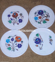 Set of 4 Marble Serving Dish Plate Marquetry Inlay Floral Work Home Deco... - $287.47