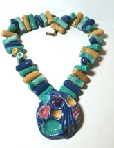 VINTAGE ARTISAN POTTERY BLUE GREEN YELLOW SEASHELL LARGE CHUNKY NECKLACE - $90.00