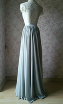 Silver Gray Chiffon Bridesmaid Skirt Floor Length Chiffon Wedding Party Skirt image 7