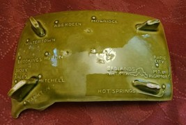 Vintage Green Ceramic South Dakota Ashtray - Has Map with Cities shown. image 2