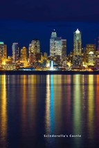 NIGHT SEATTLE SKYLINE WATER REFLECTION Photo Picture Print 4X6,5X7, 8X10... - $7.50+
