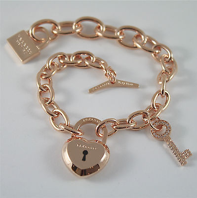 ROSE GOLD PLATED BRONZE REBECCA BRACELET LOVE LOCK BLLBRB05 MADE IN ITALY 7.87