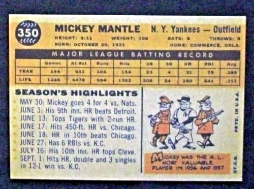 1960 Topps Baseball #350 Mickey Mantle [New York Yankees] RP