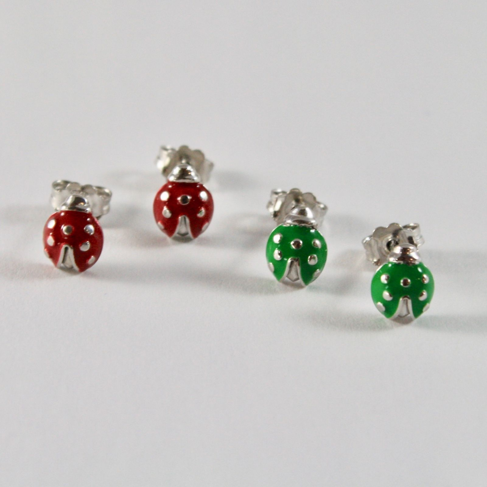 EARRINGS SILVER 925 JACK&CO WITH LADYBUG ENAMELLED RED 0,5 GREEN