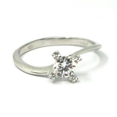 SOLID 18K WHITE GOLD RING, SOLITAIRE WITH CUBIC ZIRCONIA 0.70 CARATS CROSS FRAME