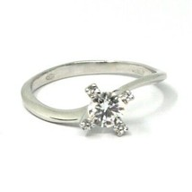 SOLID 18K WHITE GOLD RING, SOLITAIRE WITH CUBIC ZIRCONIA 0.70 CARATS CROSS FRAME image 1