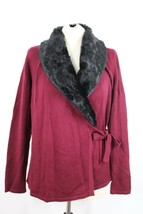 Talbots S Maroon Wool Blnd Wrap Cardigan Sweater Faux Fur Removable Shaw... - $34.20