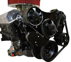 Small Block Chevy Serpentine Front Drive System Complete Kit BLACK image 3