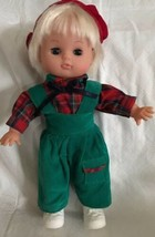 GI-GO TOYS Doll Blonde Hair Green Corduroy Overalls Plaid Shirt Beret Ey... - $19.99