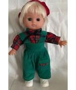 GI-GO TOYS Doll Blonde Hair Green Corduroy Overalls Plaid Shirt Beret Ey... - $24.74