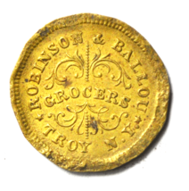 Robinson Ballou 1863 Civil War Token Grocers Troy NY 19mm Copper - $19.79