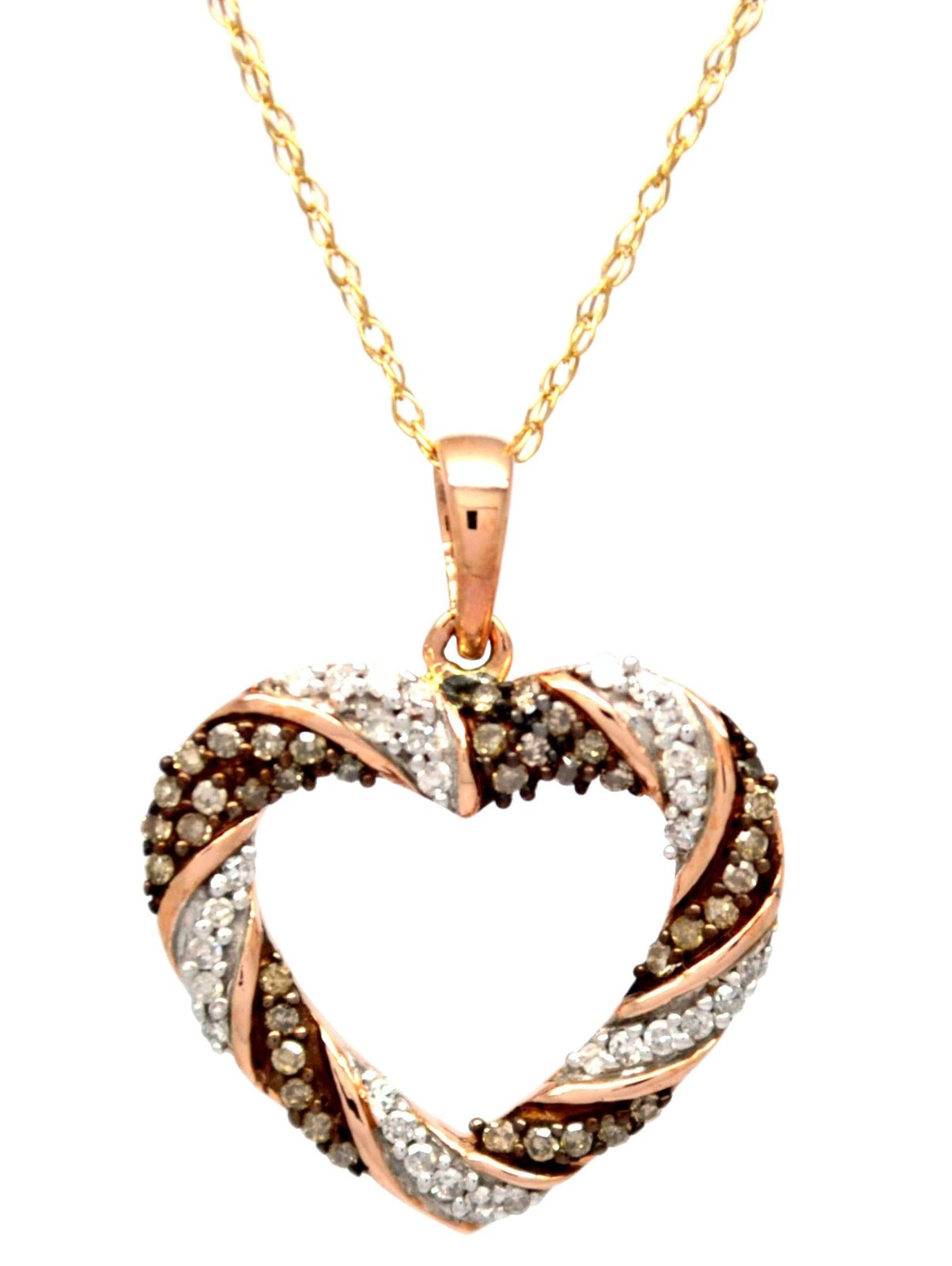 10K Rose Gold .25 Ct Brown and White Diamonds Weave Heart Pendant