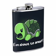 Snap Turtle Pun Em1 Flask 8oz Stainless Steel Hip Drinking Whiskey - $13.81