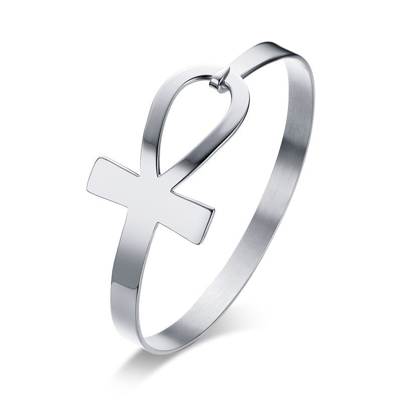 Primary image for Vnox Ankh Cross Bracelet for Women Stainless Steel Key of Life Bangle Bracelet F