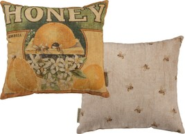 USA Grown Honey Vintage Feedsack Inspired Cotton Pillow - $29.95