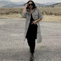 H&M OVERSIZED Long Shirt Jacket Shacket Coat Black White Melange - $113.85