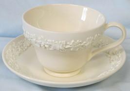 Wedgwood Cream on Cream Embossed Grape Cup & Saucer - $16.72