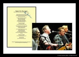 Don Henley Autographed Take it to the Limit Lyric Sheet With Glossy Eagl... - $195.00